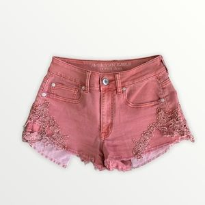 American Eagle Embroidered Pink Shorts Size 2